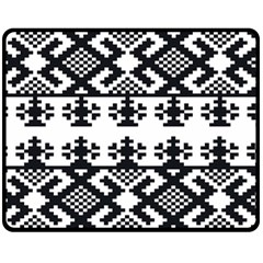 Model Traditional Draperie Line Black White Triangle Fleece Blanket (medium)  by Mariart