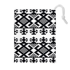 Model Traditional Draperie Line Black White Triangle Drawstring Pouches (extra Large) by Mariart