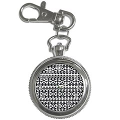Model Traditional Draperie Line Black White Key Chain Watches by Mariart