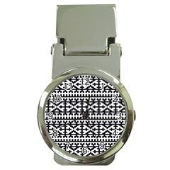 Model Traditional Draperie Line Black White Money Clip Watches by Mariart
