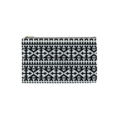 Model Traditional Draperie Line Black White Cosmetic Bag (small)  by Mariart