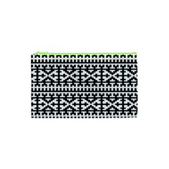 Model Traditional Draperie Line Black White Cosmetic Bag (xs) by Mariart