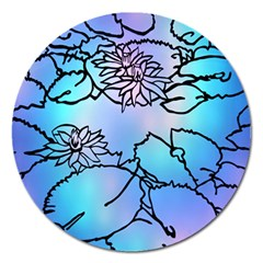 Lotus Flower Wall Purple Blue Magnet 5  (round) by Mariart
