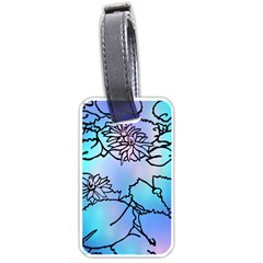 Lotus Flower Wall Purple Blue Luggage Tags (two Sides) by Mariart