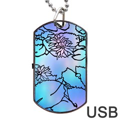 Lotus Flower Wall Purple Blue Dog Tag Usb Flash (one Side) by Mariart