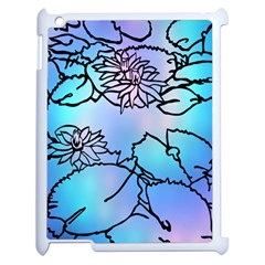 Lotus Flower Wall Purple Blue Apple Ipad 2 Case (white) by Mariart