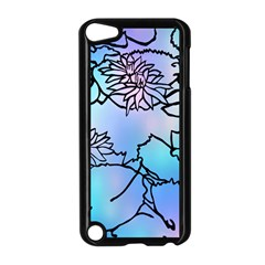 Lotus Flower Wall Purple Blue Apple Ipod Touch 5 Case (black) by Mariart