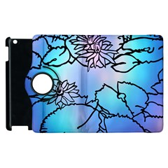 Lotus Flower Wall Purple Blue Apple Ipad 2 Flip 360 Case by Mariart