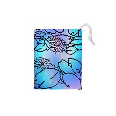 Lotus Flower Wall Purple Blue Drawstring Pouches (xs)  by Mariart
