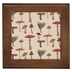 Mushroom Madness Red Grey Brown Polka Dots Framed Tiles by Mariart