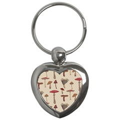 Mushroom Madness Red Grey Brown Polka Dots Key Chains (heart)  by Mariart