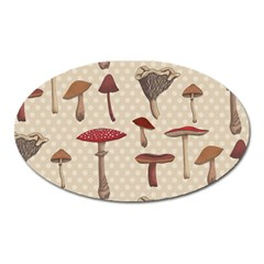 Mushroom Madness Red Grey Brown Polka Dots Oval Magnet by Mariart