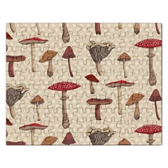 Mushroom Madness Red Grey Brown Polka Dots Rectangular Jigsaw Puzzl by Mariart