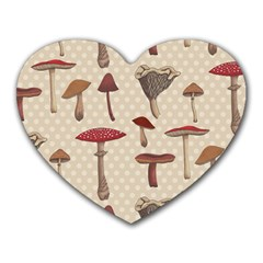 Mushroom Madness Red Grey Brown Polka Dots Heart Mousepads by Mariart