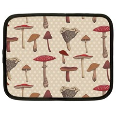 Mushroom Madness Red Grey Brown Polka Dots Netbook Case (large) by Mariart