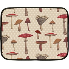Mushroom Madness Red Grey Brown Polka Dots Double Sided Fleece Blanket (mini)  by Mariart