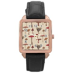 Mushroom Madness Red Grey Brown Polka Dots Rose Gold Leather Watch  by Mariart