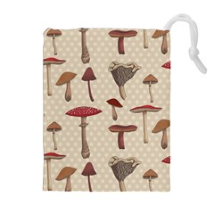 Mushroom Madness Red Grey Brown Polka Dots Drawstring Pouches (extra Large) by Mariart