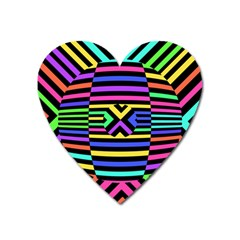 Optical Illusion Line Wave Chevron Rainbow Colorfull Heart Magnet by Mariart