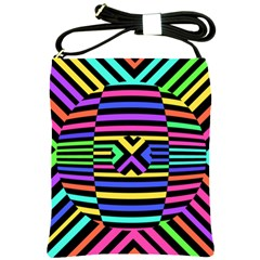 Optical Illusion Line Wave Chevron Rainbow Colorfull Shoulder Sling Bags by Mariart
