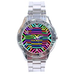 Optical Illusion Line Wave Chevron Rainbow Colorfull Stainless Steel Analogue Watch by Mariart