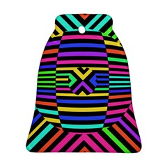 Optical Illusion Line Wave Chevron Rainbow Colorfull Ornament (bell) by Mariart