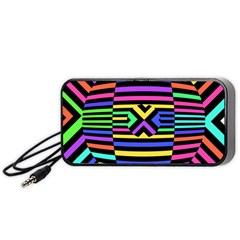 Optical Illusion Line Wave Chevron Rainbow Colorfull Portable Speaker (black) by Mariart