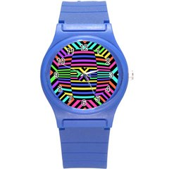 Optical Illusion Line Wave Chevron Rainbow Colorfull Round Plastic Sport Watch (s) by Mariart