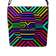 Optical Illusion Line Wave Chevron Rainbow Colorfull Flap Messenger Bag (l)  by Mariart