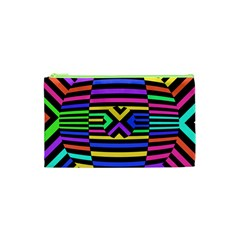 Optical Illusion Line Wave Chevron Rainbow Colorfull Cosmetic Bag (xs) by Mariart