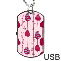 Original Tree Bird Leaf Flower Floral Pink Wave Chevron Blue Polka Dots Dog Tag Usb Flash (one Side) by Mariart