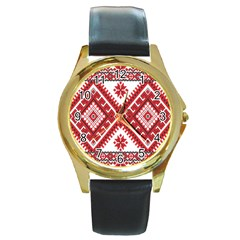 Model Traditional Draperie Line Red White Triangle Round Gold Metal Watch by Mariart