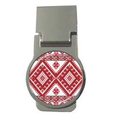 Model Traditional Draperie Line Red White Triangle Money Clips (round)  by Mariart