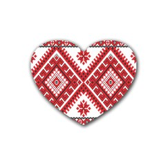 Model Traditional Draperie Line Red White Triangle Heart Coaster (4 Pack)  by Mariart