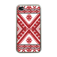 Model Traditional Draperie Line Red White Triangle Apple Iphone 4 Case (clear) by Mariart