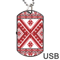 Model Traditional Draperie Line Red White Triangle Dog Tag Usb Flash (two Sides) by Mariart