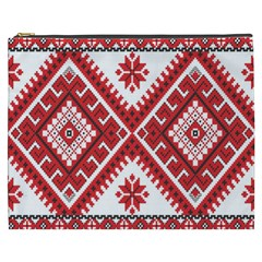 Model Traditional Draperie Line Red White Triangle Cosmetic Bag (xxxl)  by Mariart