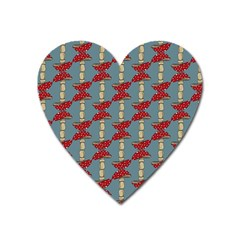 Mushroom Madness Red Grey Polka Dots Heart Magnet