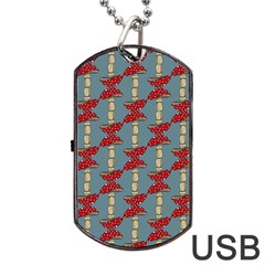 Mushroom Madness Red Grey Polka Dots Dog Tag Usb Flash (one Side) by Mariart