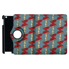 Mushroom Madness Red Grey Polka Dots Apple Ipad 2 Flip 360 Case by Mariart