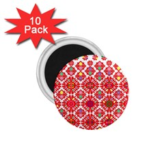 Plaid Red Star Flower Floral Fabric 1 75  Magnets (10 Pack)  by Mariart