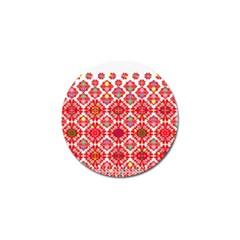 Plaid Red Star Flower Floral Fabric Golf Ball Marker by Mariart