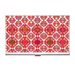 Plaid Red Star Flower Floral Fabric Business Card Holders by Mariart