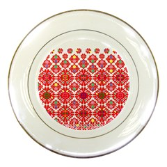 Plaid Red Star Flower Floral Fabric Porcelain Plates by Mariart
