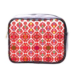 Plaid Red Star Flower Floral Fabric Mini Toiletries Bags by Mariart
