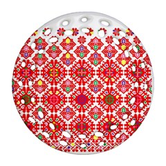 Plaid Red Star Flower Floral Fabric Ornament (round Filigree) by Mariart