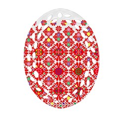 Plaid Red Star Flower Floral Fabric Ornament (oval Filigree) by Mariart