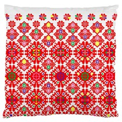 Plaid Red Star Flower Floral Fabric Large Cushion Case (two Sides) by Mariart