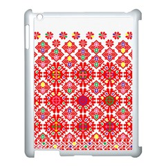 Plaid Red Star Flower Floral Fabric Apple Ipad 3/4 Case (white) by Mariart