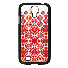 Plaid Red Star Flower Floral Fabric Samsung Galaxy S4 I9500/ I9505 Case (black) by Mariart